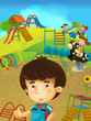 Cartoon scene with young boy in the playground - illustration for children