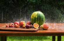 Fruit On A Wooden Table In The Rain