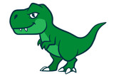 Fototapeta Dino - Cute cartoon green  t-rex dinosaur