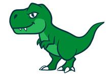 Cute Cartoon Green  T-rex Dinosaur