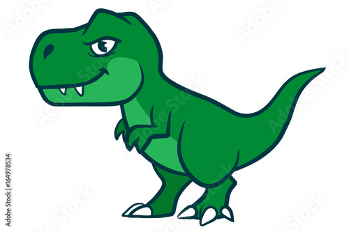 Fototapeta Cute cartoon green  t-rex dinosaur