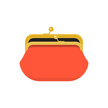 Red Opened Purse Infographics Concept. Retro Wallet. Vector Illustration
