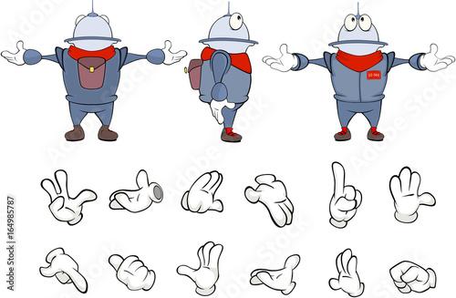 Papiers peints Chambre bébé Cartoon character cute robot for a computer game. Set Illustration