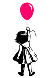 Fototapeta Młodzieżowe - Vector hand drawn black and white silhouette illustration of a toddler girl standing with pink red balloon in hand, back view. Urban street art style graffiti stencil art design element.