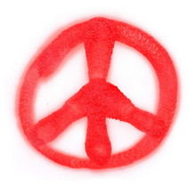 Red Spray Stain Peace Sign Isolated On White Background, Photo With Clipping Path