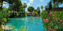 Panoramic View Of The Ancient Thermal Swimming Pool Cleopatra In Pamukkale In Turkey