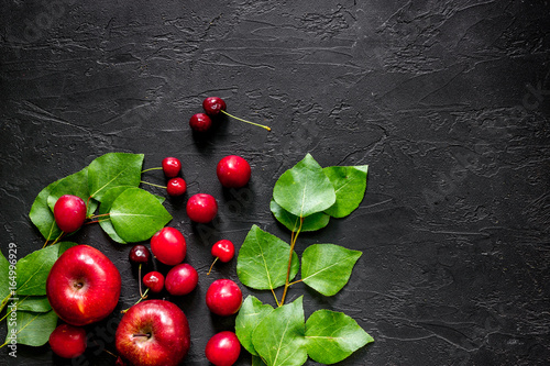 Apple Pulm And Cherry For Summer Fruit Drink Black Stone Table Top View Copyspace