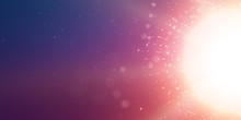 Abstract Vector Sun Glow Violet Background. Points Chaotically Flying In Space With Bokeh. Flying Debris With Dof. Futuristic Technology Style. Elegant Background For Business Presentations.