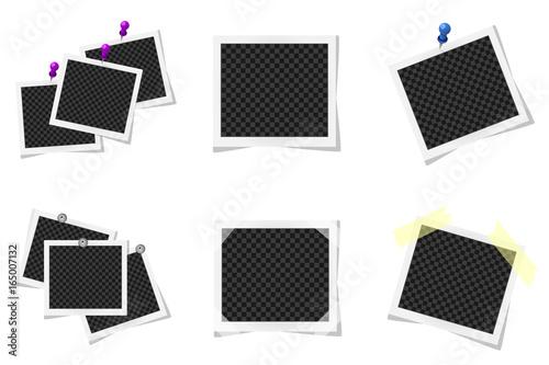 Fototapeta Collage of realistic photo frames isolated. Vector illustration obraz na płótnie