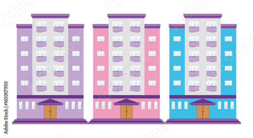 colorful building icon sign simbol bright houses purple blue pink