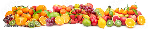 Poster Vruchten Panoramic wide photo of fresh fruit for skinali isolated on white