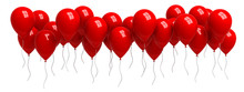 Row Of Red Balloons Isolated O...
