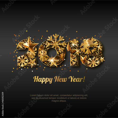 happy new year 2018 vector greeting card with golden numbers abstract holiday black glowing background