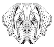 Saint Bernard Dog Zentangle Stylized Head, Freehand Pencil, Hand Drawn, Pattern. Anti Stress Coloring Book For Adults And Kids.