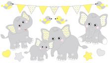 Cute Elephants Set. Vector Elephant Illustration For Baby Shower. Vector Baby Elephant.