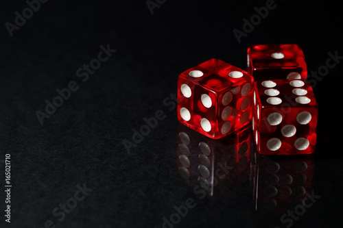 Red Sic Bo gambling dice with black isolated background плакат