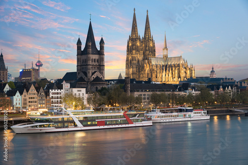 Canvas Prints Ship Aerial view Cologne over the Rhine River with cruise ship in Cologne, Germany.