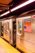 Subway train arrive in station, NYC