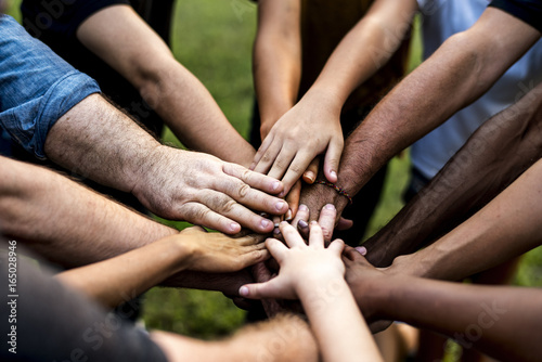 Group of people holding hand assemble togetherness Canvas Print