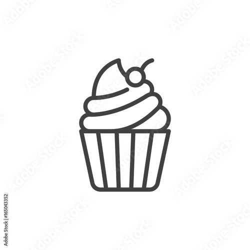 Cupcake with cherry on top line icon, outline vector sign, linear style pictogram isolated on white Canvas Print