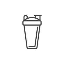 Sport Shaker Bottle Line Icon,...