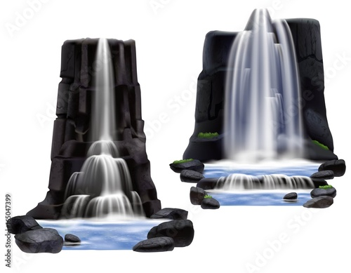 Waterfalls Realistic Composition Set Wall mural