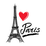 Fototapeta Fototapety z wieżą Eiffla - Symbol France-Eiffel tower, heart and word Paris. French capital Paris. Vector sketch illustration.