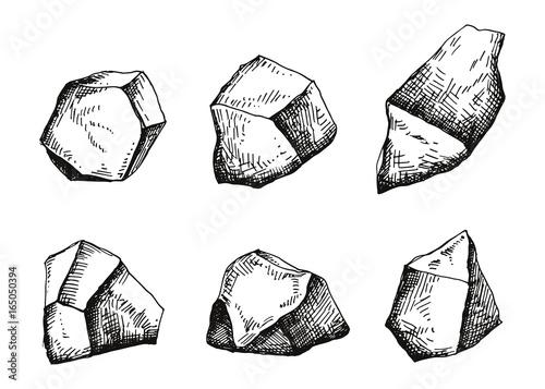 Wielkie kamienie. Rysunek odręczny. ilustracji wektorowych