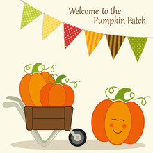 Cute Pumpkin Patch Card With B...