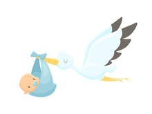 Cartoon Stork Carrying Baby Ve...