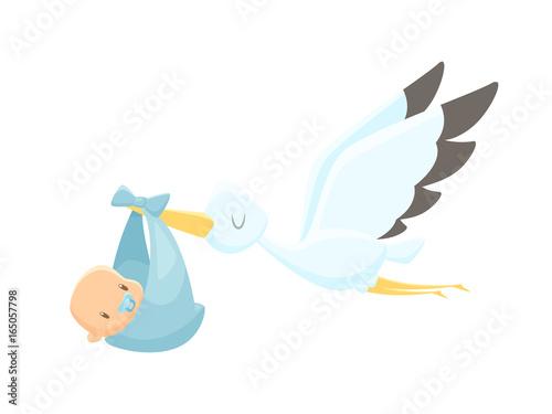 Stampa su Tela Cartoon stork carrying baby vector illustration
