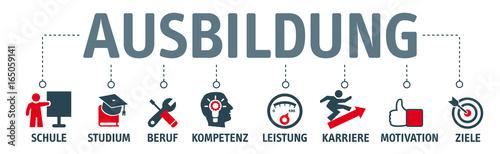 Fotografie, Obraz  Banner mit icons - Ausbildung, Schule, Studium und Karriere