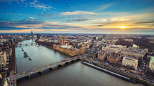 London, England - Aerial View Of Central London, With Big Ben, Houses Of Parliament, Westminster Bridge, Lambeth Bridge At Sunset With Flying Birds