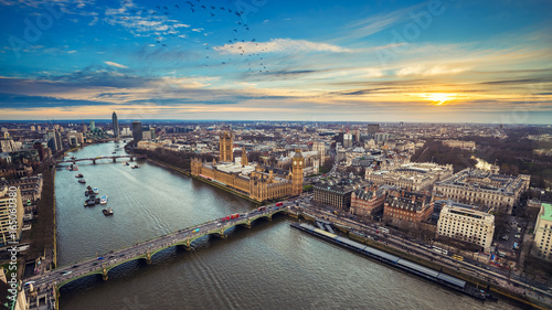 Fotografija London, England - Aerial view of central London, with Big Ben, Houses of Parliam