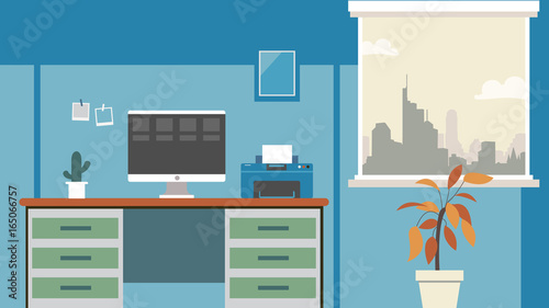 Office Desk Background Vector Workplace Business Style Table And