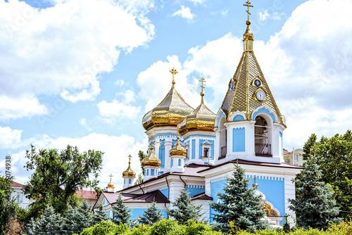 Fotografie, Obraz  Ciuflea monastery sf teodor tiron, Chisinau, Moldova, sunny day blue sky trees a
