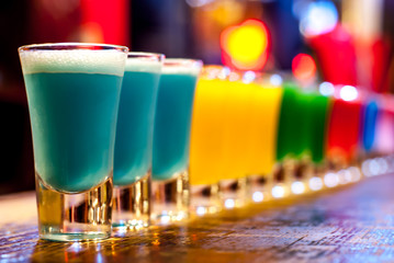 Colorful cocktails on a bar...