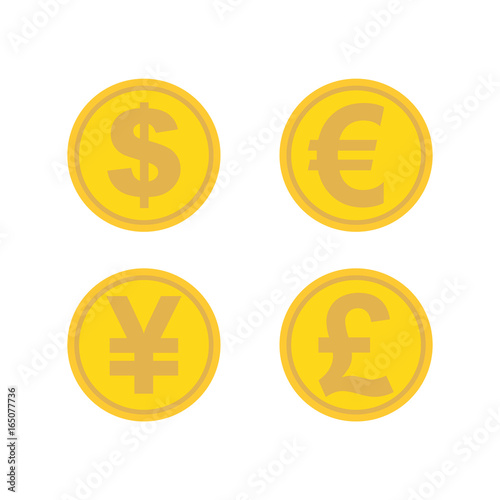 Currency Exchange Icons Set Dollar Euro Yen Pound Golden Coins Modern Round Color Worldwide Flat Style Icon