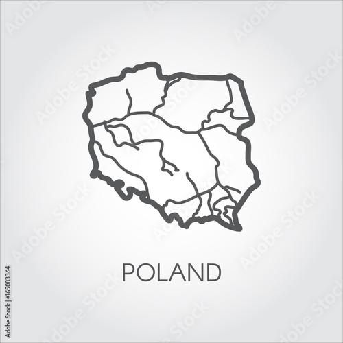 Poland Map Outline Icon Contour Simplicity Emblem Vector Country
