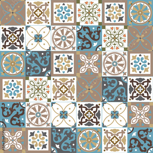 Foto auf AluDibond Marokkanische Fliesen Portuguese traditional ornate azulejo, different types of tiles 6x6, seamless vector pattern in natural colors, beige, creme and white