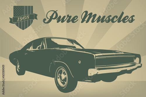Papel de parede  Vintage american muscle car poster