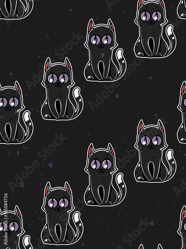 Seamless Texture With Cats Black Cute Cats On A Black Background It Can Be Used As Wallpaper Desktop Printing Wrapping Fabric Or Background For Your Blog Covers And Your Design Buy