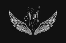 White Openwork Wings On Black Background. Technical Modern Style. It Can Be Used For Printing On T-shirts And Idea For Tattoo Or Using For Logo.