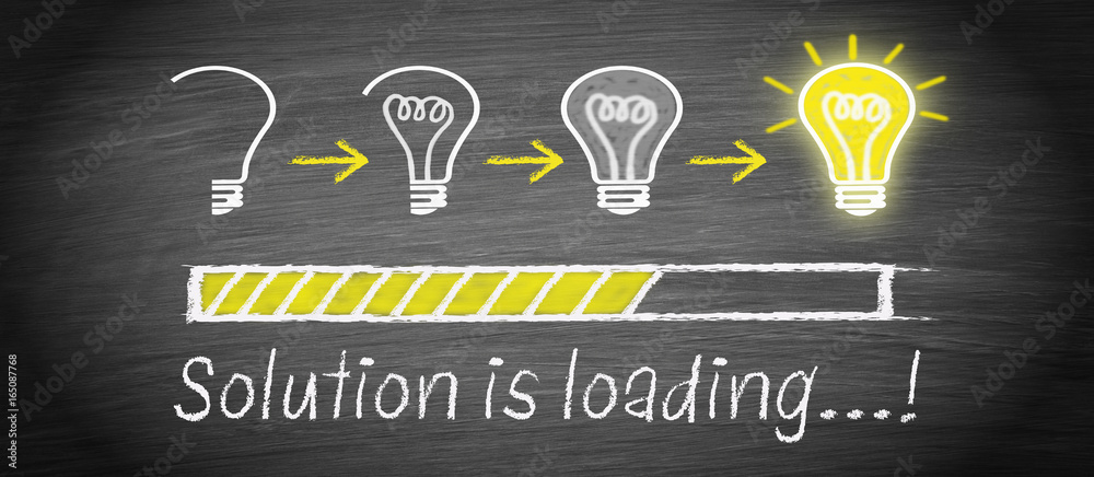 Fototapety, obrazy: Solution is loading - big idea and creativity light bulb concept