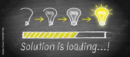 Obraz Solution is loading - big idea and creativity light bulb concept - fototapety do salonu