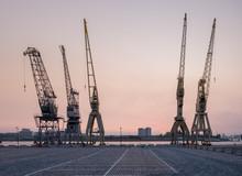 Old Harbor Cranes In The Antwerp District Known As Eilandje,.