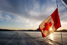 Canada Flag On The Boat