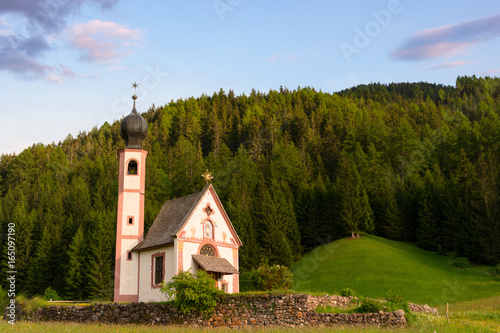 Photo  Santa Maddalena church in Val di Funes valley