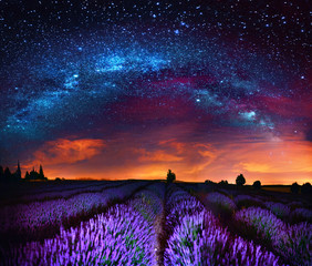 Panel Szklany Kosmos Milky Way over lavender field, France