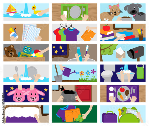 Fotografia WebVector Collection of Chore Chart or Job Chart Activities for Kids